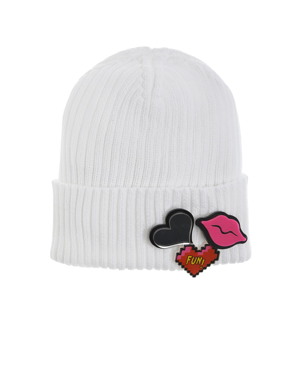 Белая шапка с декором на отвороте Regina детская, Белый, 100%хлопок  - купить со скидкой