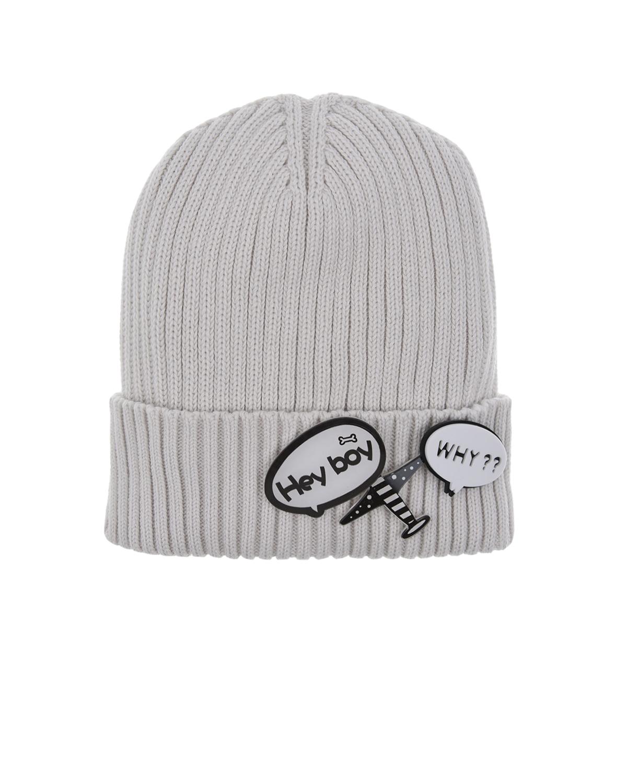 Купить Серая шапка со значком hey boy Regina детская, Серый, 100%хлопок