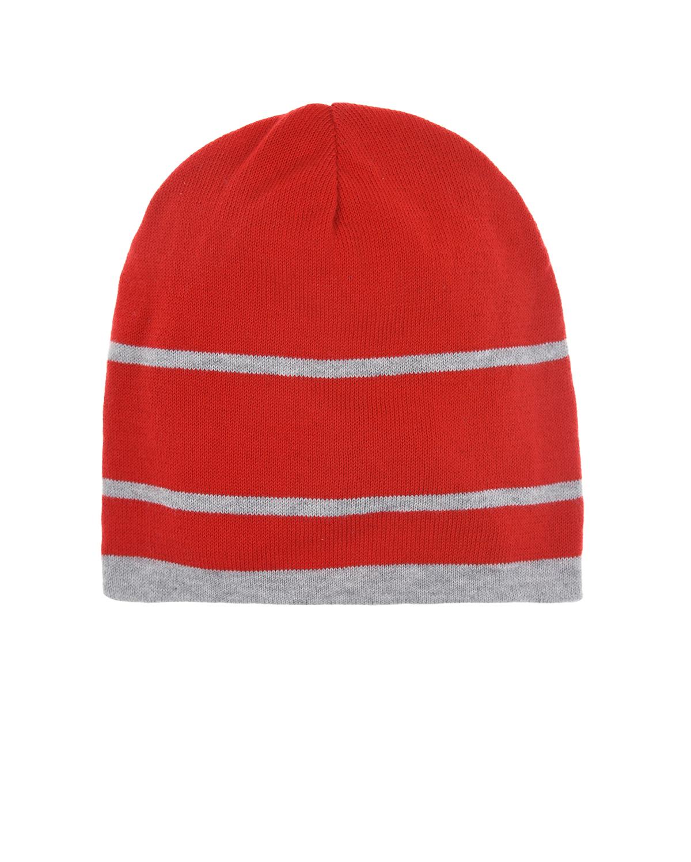 Купить Красная шапка в серую полоску Regina детская, Красный, 100%хлопок