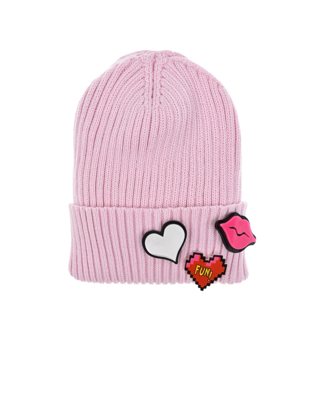 Купить Розовая шапка со значками Regina детская, Розовый, 100%хлопок