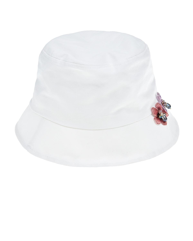 Купить Белая панама с аппликацией цветы Regina детская, Белый, 100%хлопок