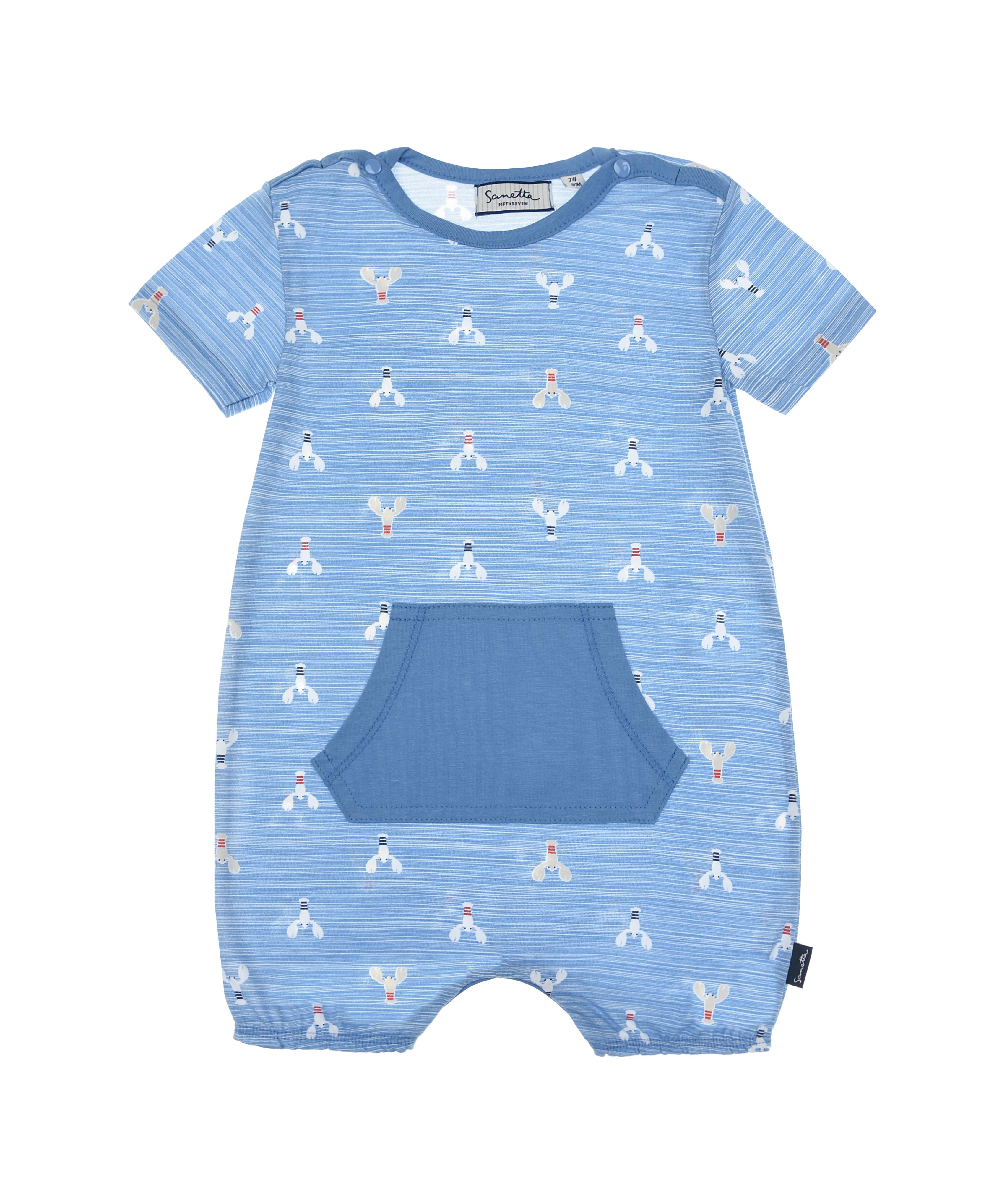 Купить Песочник голубого цвета с принтом раки Sanetta fiftyseven детский, Синий, 100%хлопок