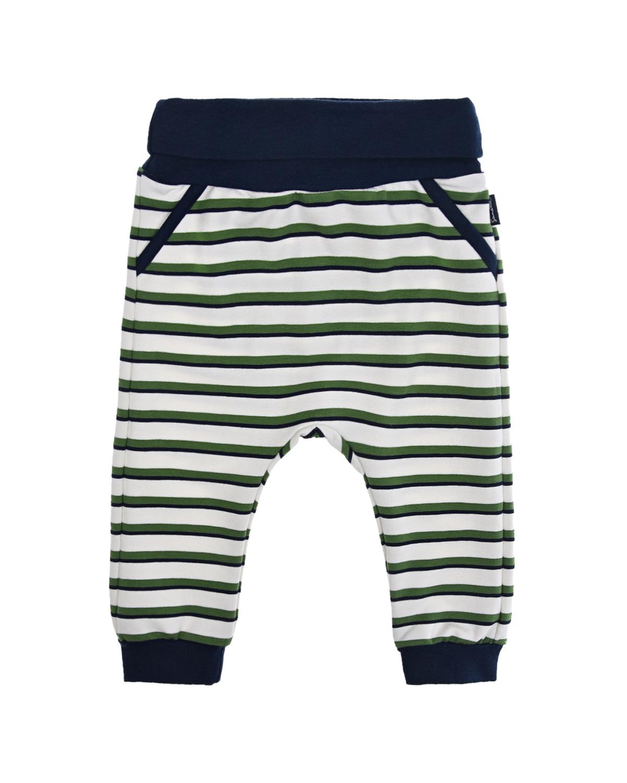 Купить Спортивные брюки в сине-зеленую полоску Sanetta fiftyseven детские, Белый, 95%хлопок+5%эластан