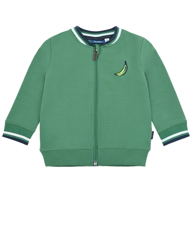 Купить Зеленая спортивная куртка с принтом обезьяна Sanetta Kidswear детская, Зеленый, 95%хлопок+5%эластан