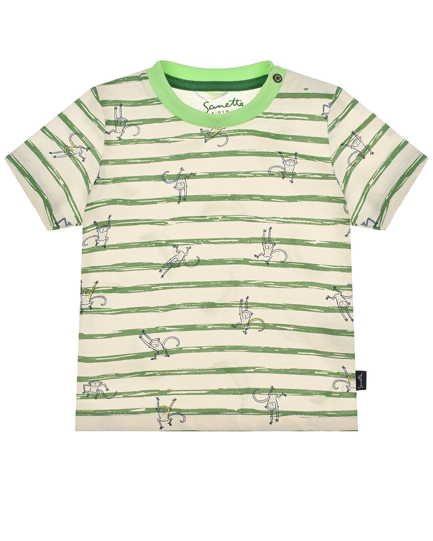 Купить Футболка в зеленую полоску Sanetta Kidswear детская, Белый, 100%хлопок