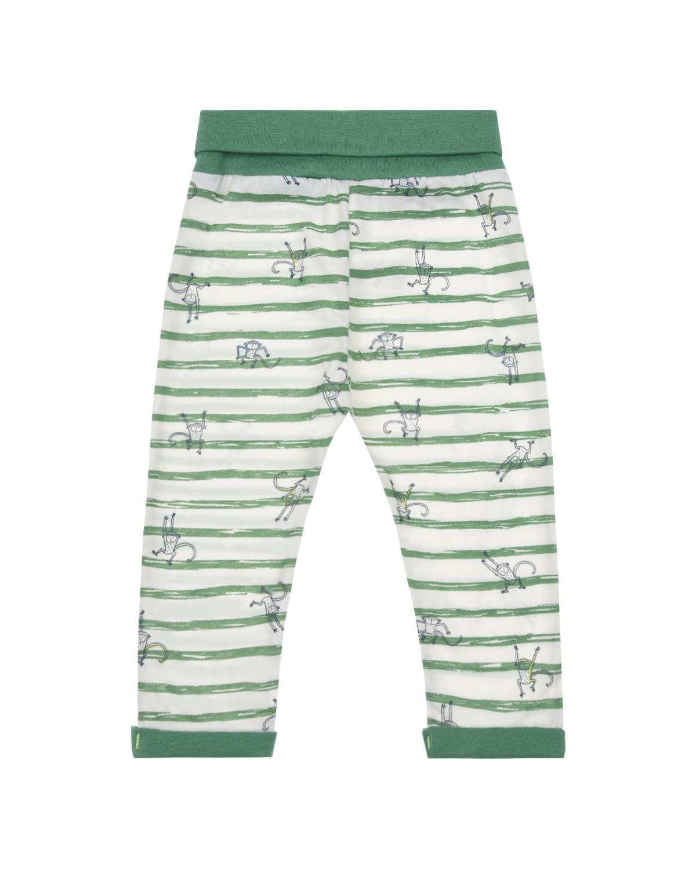 Купить Спортивные брюки в зеленую полоску Sanetta Kidswear детские, Белый, 100%хлопок