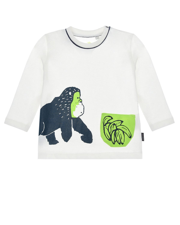 Купить Толстовка с принтом обезьянка Sanetta Kidswear детская, Белый, 100%хлопок