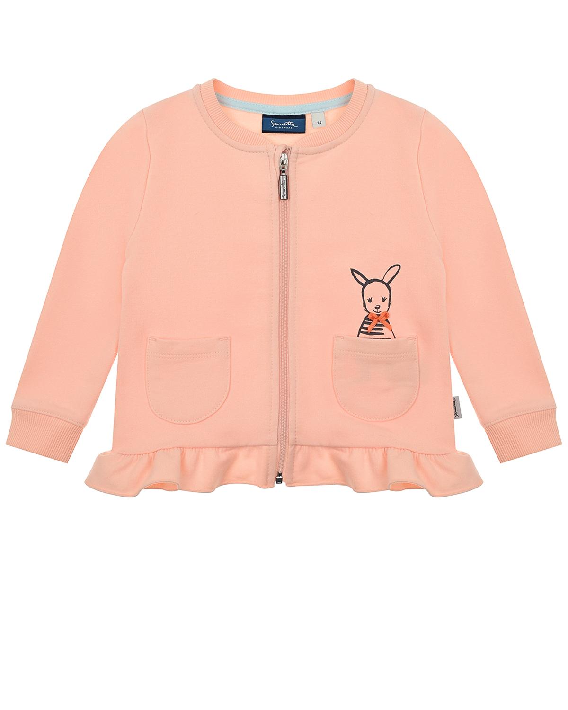 Купить Розовая спортивная куртка с принтом Зебра Sanetta Kidswear детская, Розовый, 95% хлопок+% эластан