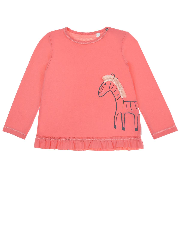 Купить Толстовка кораллового цвета с принтом зебра Sanetta Kidswear детская, Красный, 100%хлопок