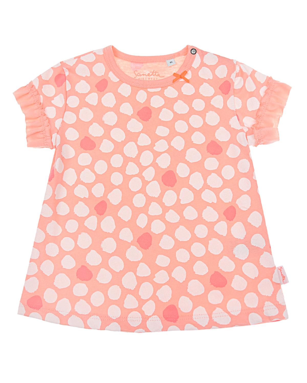 Купить Футболка персикового цвета с принтом в горошек Sanetta Kidswear детская, Розовый, 100%хлопок