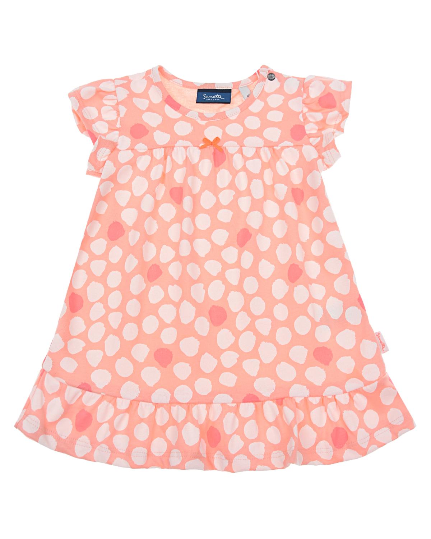 Купить Платье персикового цвета с принтом в горошек Sanetta Kidswear детское, Розовый, 100%хлопок