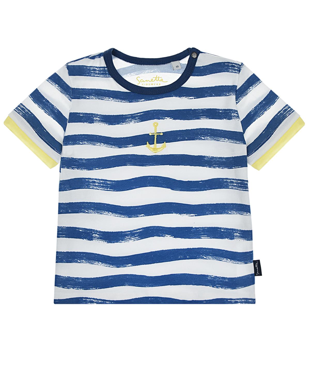 Купить Хлопковая футболка с морским принтом Sanetta Kidswear детская, Мультиколор, 100%хлопок