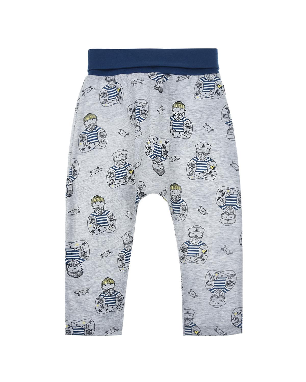 Купить Серые брюки с принтом моряк Sanetta Kidswear детские, Серый, 100%хлопок