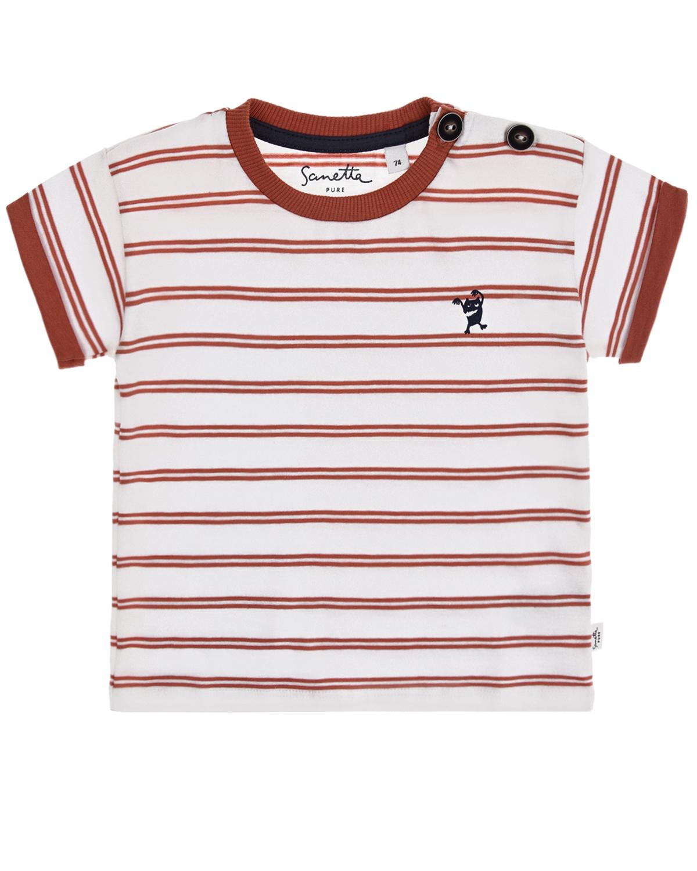 Купить Белая футболка в красную полоску Sanetta Pure детская, Белый, 100%хлопок