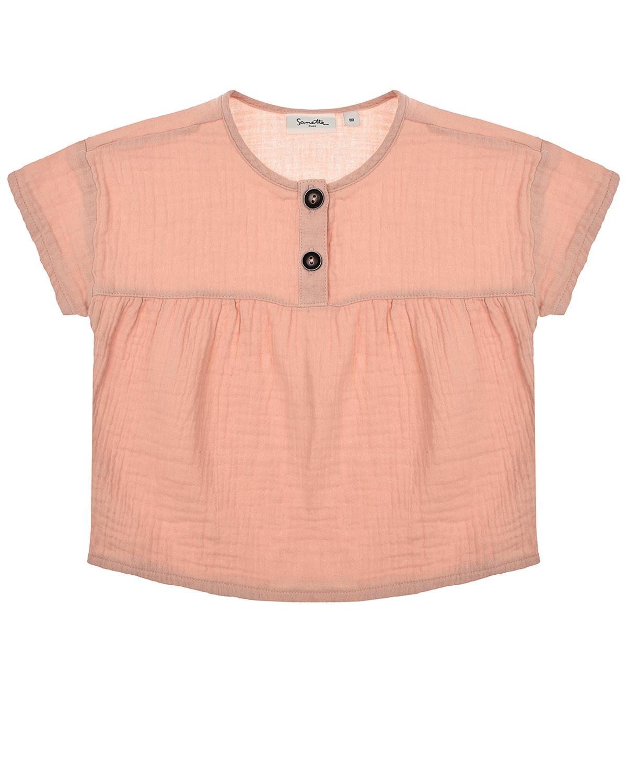 Купить Пудровая футболка из хлопка Sanetta Pure детская, Розовый, 100%хлопок