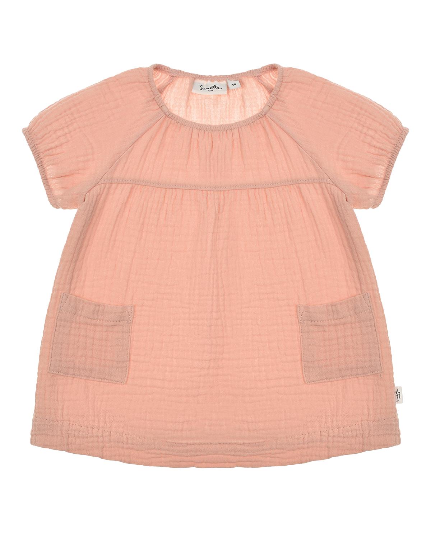 Купить Платье с короткими рукавами-реглан Sanetta Pure детское, Розовый, 100%хлопок