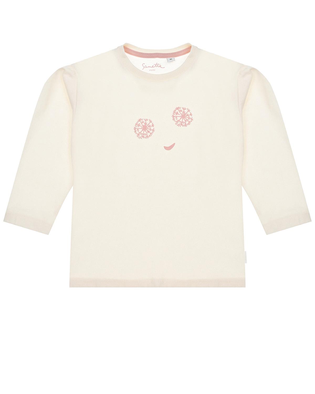 Купить Кремовый свитшот с принтом смайл Sanetta Pure детский, Розовый, 100%хлопок