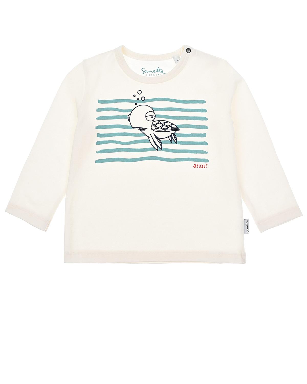 Купить Толстовка с принтом черепаха Ahoi! Sanetta Kidswear детская, Белый, 100% хлопок