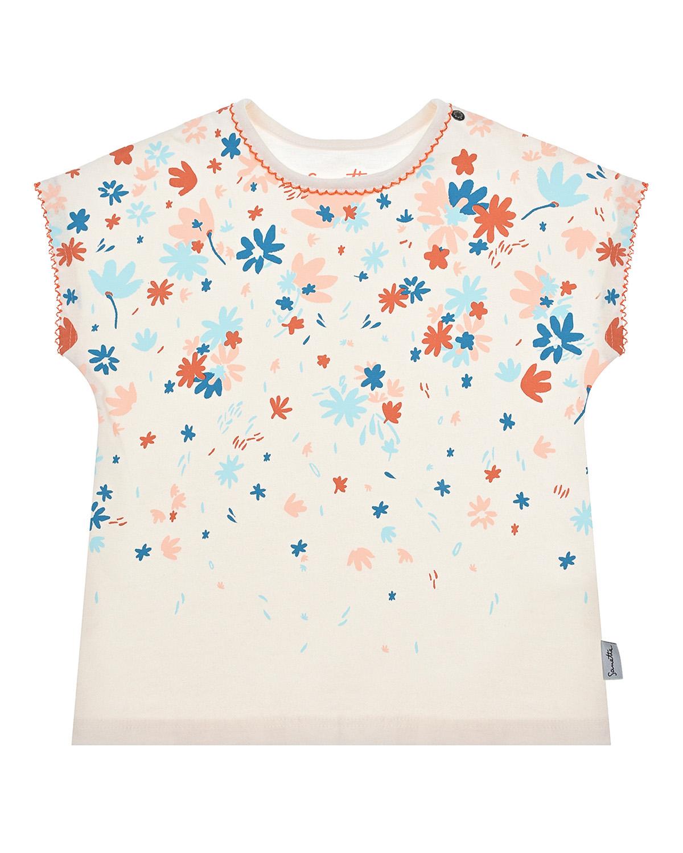 Купить Кремовая футболка с цветочным принтом Sanetta Kidswear детская, Белый, 100% хлопок