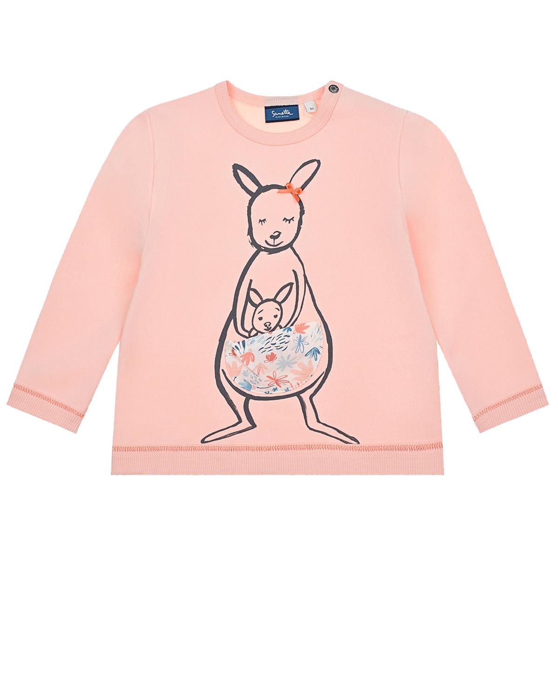 Купить Розовый свитшот с принтом кенгуру Sanetta Kidswear детский, 95% хлопок+5% эластан