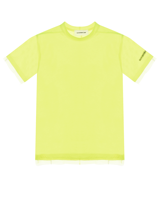 Купить Двухслойная неоново-желтая футболка Scrambled Ego детская, Салатовый, 65% полиэстер+35% хлопок