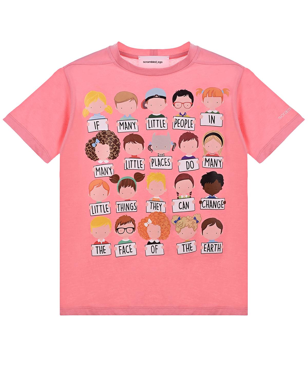 Купить Розовая футболка с принтом Scrambled Ego детская, Розовый, 100% хлопок