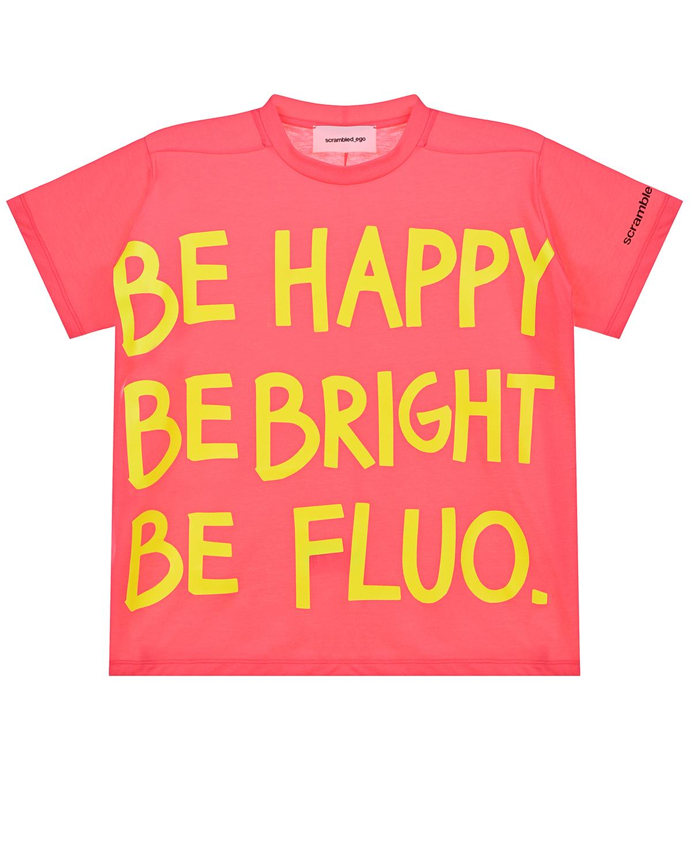 Купить Футболка с принтом Be happy Scrambled Ego детская, Розовый, 100% хлопок