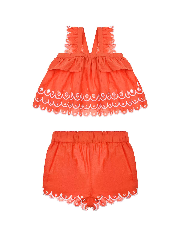 Купить Красный комплект с топом и шортами Stella McCartney детский, 100%хлопок, 100%полиэстер