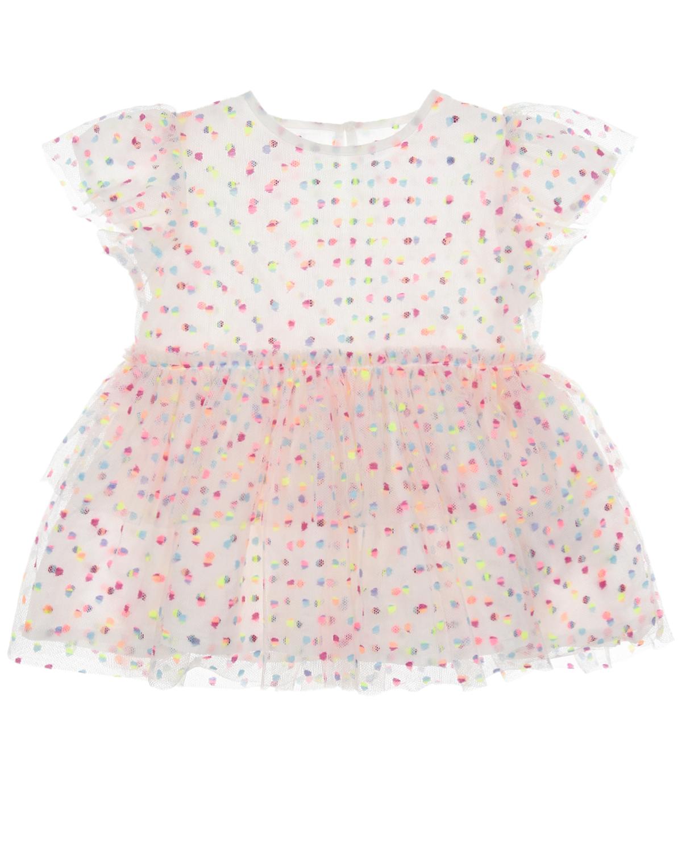 Купить Платье в горошек Stella McCartney детское, Кремовый, 100%полиэстер, 100%хлопок, 69 полиамид+20% эластан+11% полиэстер