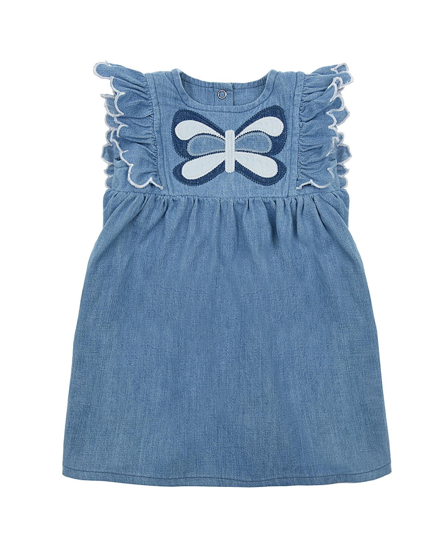 Купить Джинсовое платье с аппликацией бабочка Stella McCartney детское, Синий, 100%хлопок