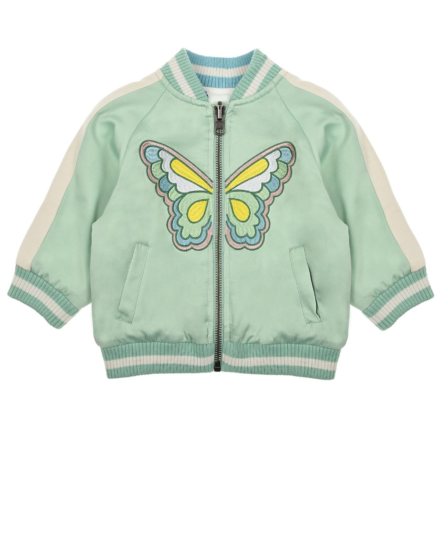 Купить Двухстороняя куртка-бомбер Stella McCartney детская, Мятный, 83%полиэстер+17%хлопок, 100%хлопок, 100%полиэстер, 97%полиэстер+3%эластан
