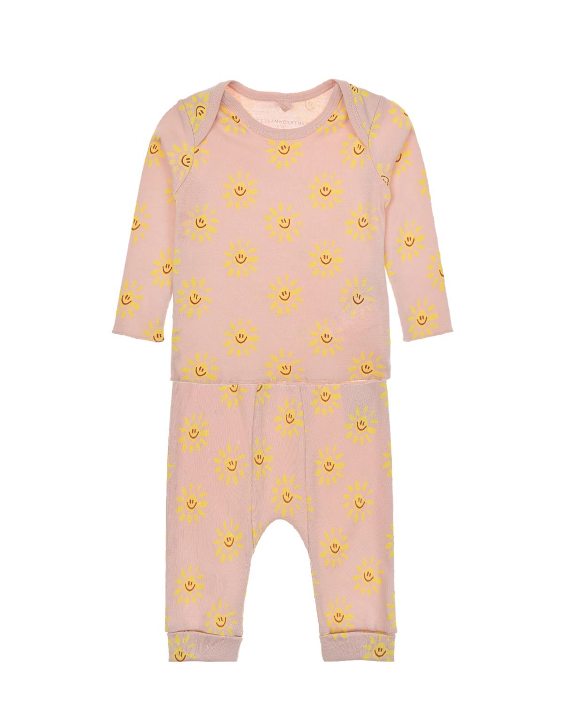Купить Розовый комплект с принтом солнышки Stella McCartney детский, 100%хлопок
