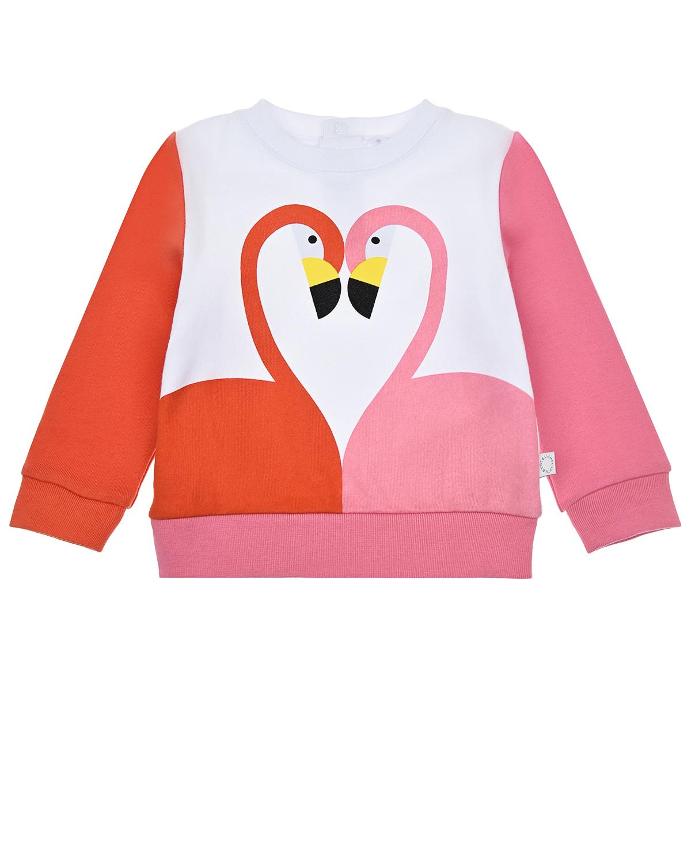 Купить Свитшот с принтом фламинго Stella McCartney детский, Мультиколор, 100%хлопок, 99%хлопок+1%эластан