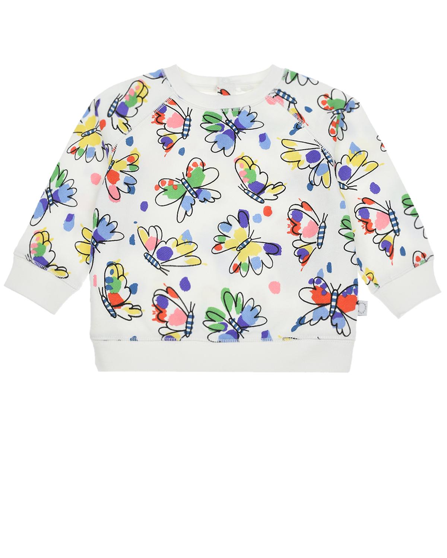 Купить Свитшот с принтом Бабочки Stella McCartney детский, Кремовый, 100%хлопок, 98%хлопок+2%эластан