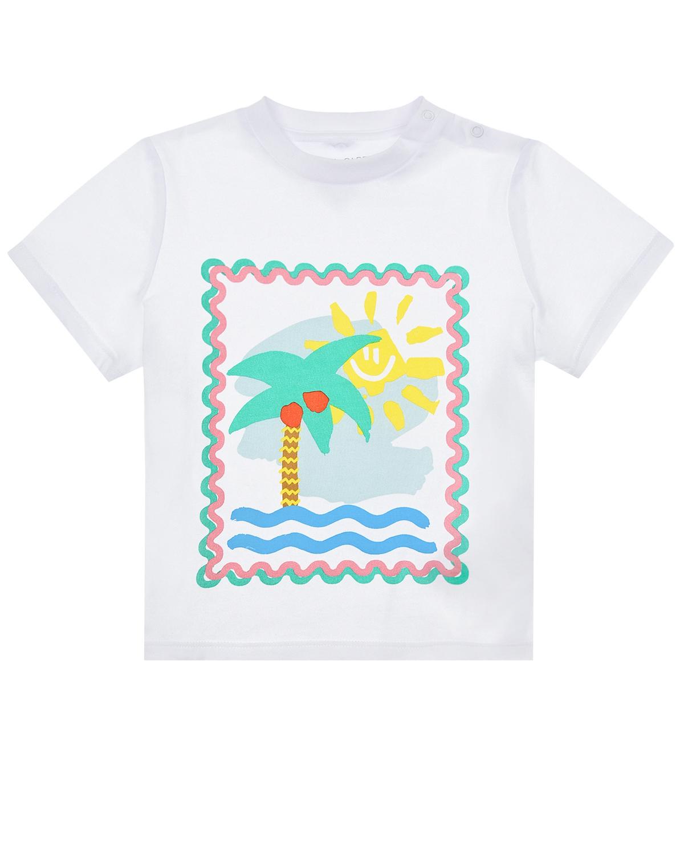 Купить Футболка с принтом Пальмы и море Stella McCartney детская, Белый, 100%хлопок