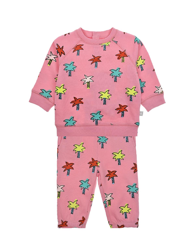 Купить Розовый спортивный костюм пальмы Stella McCartney детский, 100%хлопок, 98%хлопок+2%эластан