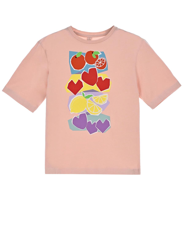 Купить Розовая футболка с принтом фрукты Stella McCartney детская, Нет цвета, 100%хлопок