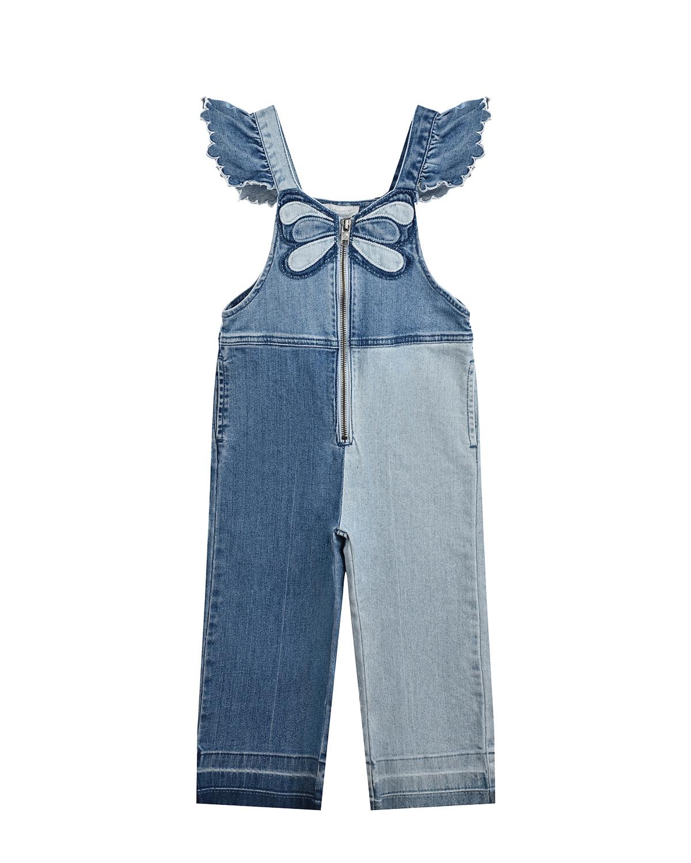 Купить Джинсовый комбинезон с аппликацией бабочка Stella McCartney детский, Синий, 98%хлопок+2%эластан, 100%хлопок