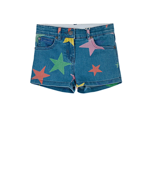 Купить Джинсовые шорты с принтом Звезды Stella McCartney детские, Синий, 67%хлопок+31%полиэстер+2%эластан, 100%хлопок, 100%полиэстер