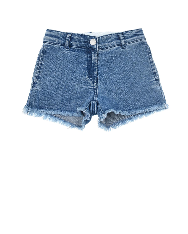 Купить Синие джинсовые шорты с аппликацией бабочка Stella McCartney детские, Синий, 98%хлопок+2%эластан, 100%хлопок. 98%хлопок+2%эластан