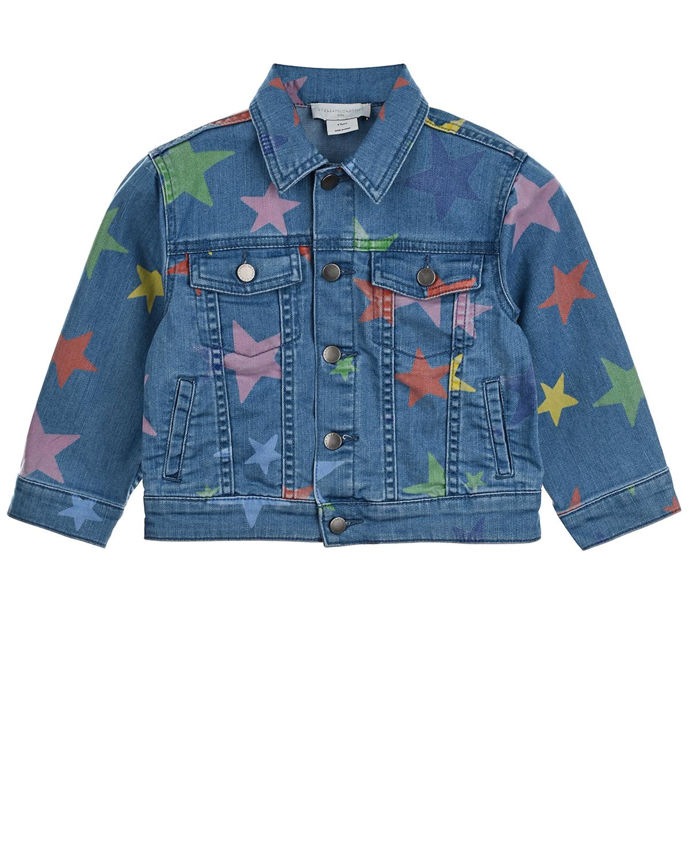 Купить Джинсовая куртка с принтом звезды Stella McCartney детская, Синий, 67%хлопок+31%полиэстер+2%эластан, 100%хлопок