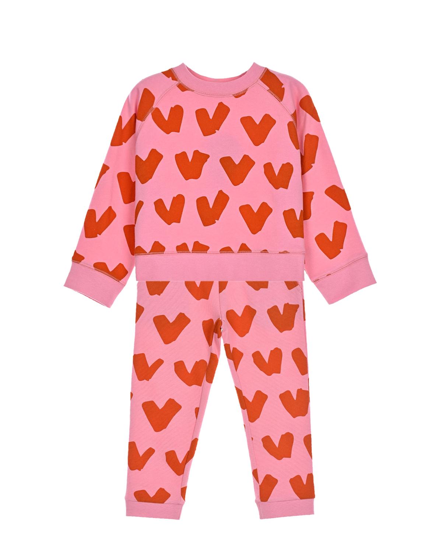 Купить Розовый спортивный костюм с принтом сердца Stella McCartney детский, 100%хлопок, 98%хлопок+2%эластан