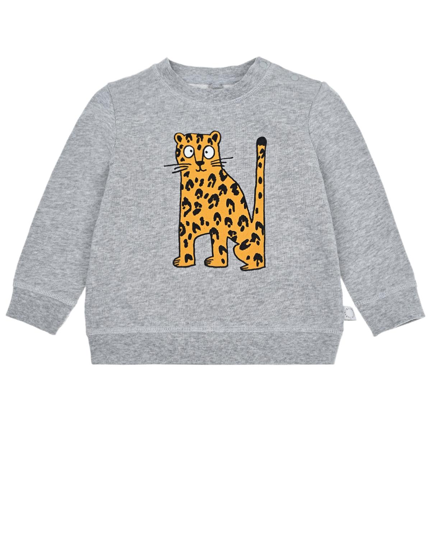 Купить Серый свитшот с принтом Гепард Stella McCartney детский, 100%хлопок, 95%хлопок+5%эластан