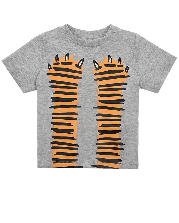 Купить Футболка с принтом тигр Stella McCartney детская, Серый, 100%хлопок