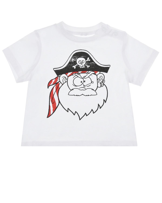 Купить Белая футболка с принтом пират Stella McCartney детская, Белый, 100%хлопок