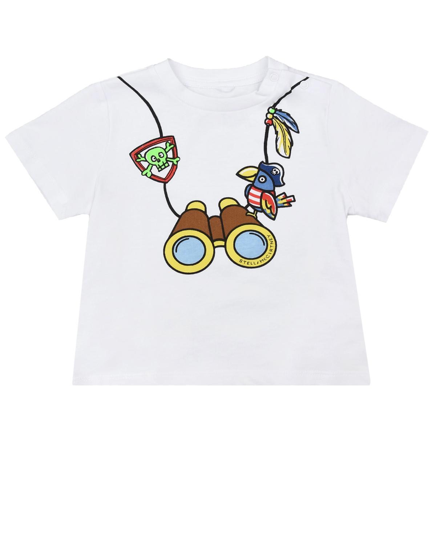Купить Белая футболка с принтом бинокль Stella McCartney детская, Белый, 100%хлопок