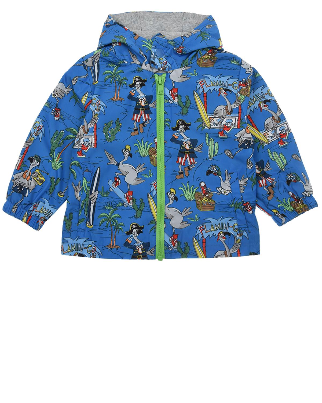 Купить Ветровка с принтом фламинго Stella McCartney детская, Синий, 100%полиэстер. 100%хлопок