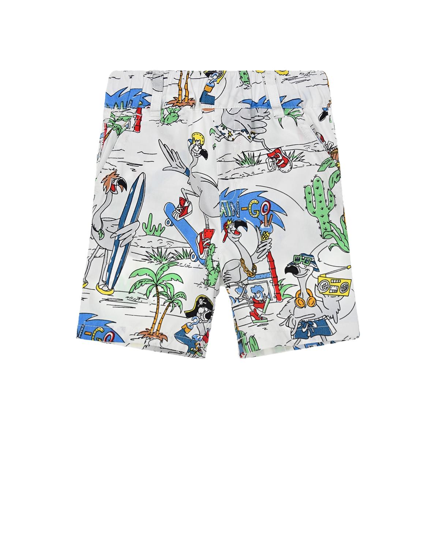Купить Бермуды из хлопка с принтом Пальмы Stella McCartney детские, Белый, 100%хлопок