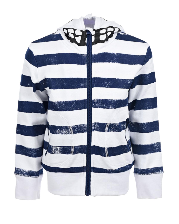 Купить Спортивная куртка в сине-белую полоску Stella McCartney детская, Мультиколор, 100%хлопок, 100%полиамид, 99%хлопок+1%эластан