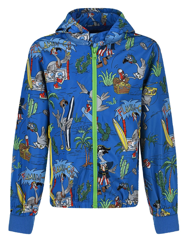 Купить Синяя ветровка с принтом фламинго Stella McCartney детская, Синий, 100%полиэстер, 97%полиэстер+3%эластан
